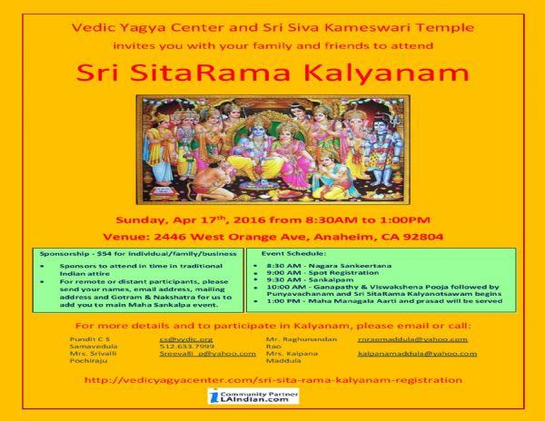 Sri Sita rama kalyanam by Vedic Yagnya Centre - Buy Tickets
